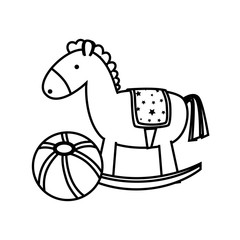 monochrome contour with ball and horse toy vector illustration
