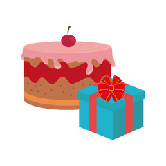 color background with cake and gift box vector illustration