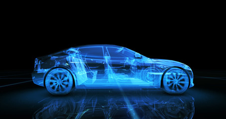 Sport car wire model with blue neon ob black background