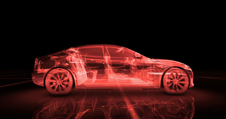 Sport car wire model with red neon ob black background