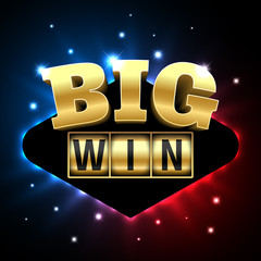 Big Win casino banner for poker, roulette, slot machines, card or other games