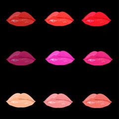 Color lips on black background