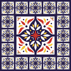 Spanish pattern tiles floor vector - vintage with ceramic cement tiles. Big tile in center is framed in small. Background with portuguese azulejo, mexican talavera, oriental moroccan motifs.