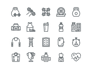 Sport. Set of outline vector icons. Includes such as Fitness Tracker, Cardio monitor, Bodybuilding equipment and other.