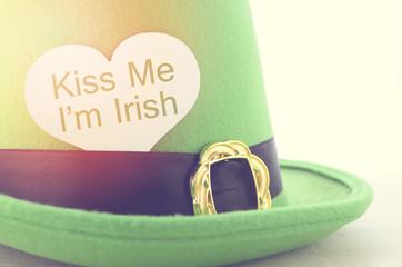 Happy St Patricks Day green leprechaun hat