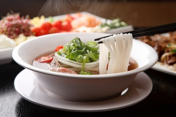 Fresh beef and onion, light and delicious beef rice noodle made of ingredients