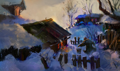 bright picture of the village in the winter evening