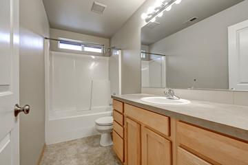 Grey bathroom interior with wood vanity cabinet