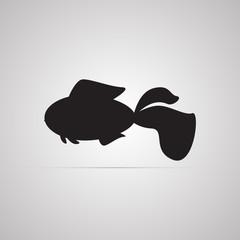 Векторная иллюстрация иконка простой символ плоский для веб goldfish золотая рыбка