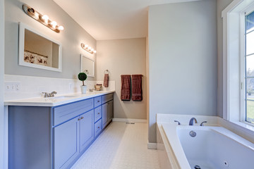 Light filled bathroom interior accented with blue vanity