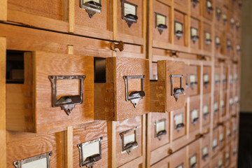 Wooden safe deposit strongbox chest of drawers library card-index filing-cabinet card-file systematization
