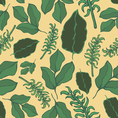 Seamless vector pattern of the graphic images of the plant. Handmade. It can be used for packaging, invitations, holiday cards, etc. wallpaper, decoration, floral, spring, ornament, vivid, flower