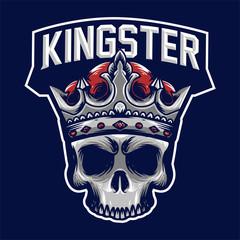 King head skull mascot logo