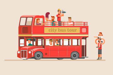People go on the red tourist bus and take pictures of landmarks. Vector illustration.