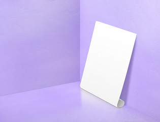 Blank white rolling poster at corner painted pastel purple color