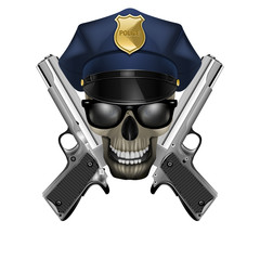 skull with sunglasses in a police cap and silver pistol