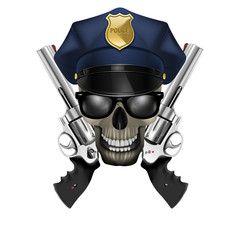 skull with sunglasses in a police cap and revolver