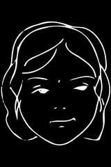 vector sketch of the face of a beautiful young girl