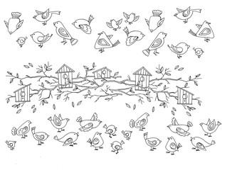 много птиц и скроречники, иллюстрация