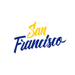 Handwritten city name San Francisco. Calligraphic element for your design. Vector illustration.