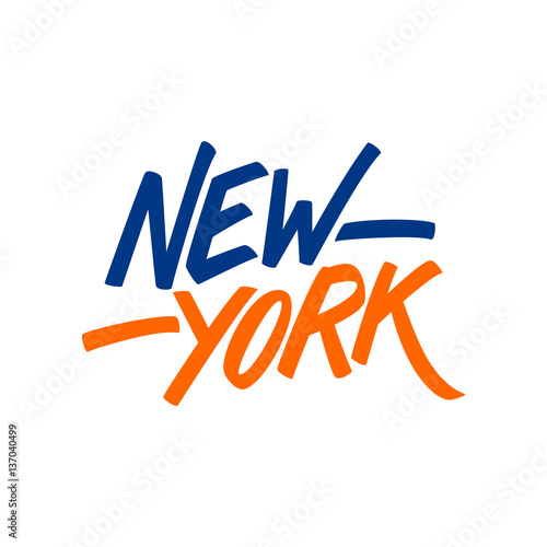 Handwritten city name new york calligraphic element for your design