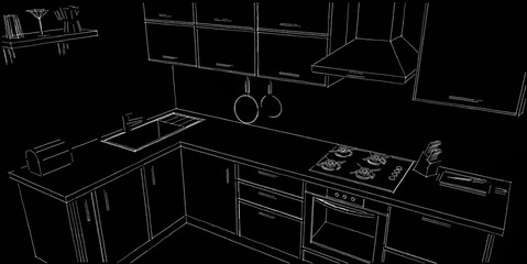 Sketch outline drawing of 3d contemporary corner kitchen interior black and white