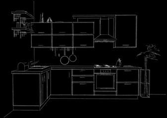 Contour sketch of modern corner kitchen. 3d illustration black and white. Front view.