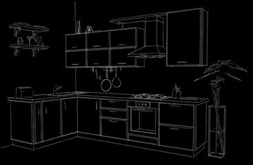 Outline sketch of modern corner kitchen. White pencil lines on black background. Isometric view.