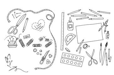 инструменты для шитья и рисования