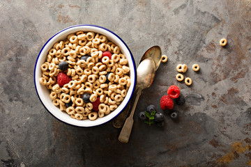 Healthy cold cereal in a bowl