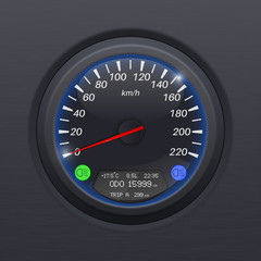 Speedometer. Black speed gauge. Classic car computer dashboard
