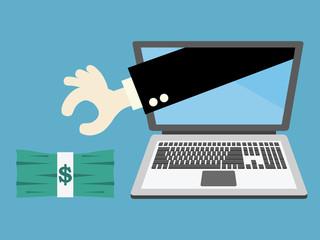 Businessman picking money. vector illustration.
