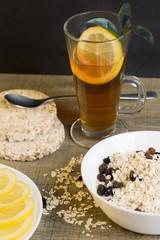 Healthy breakfast, tea with lemon