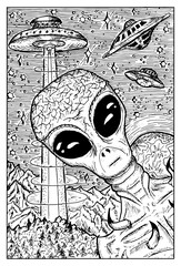 Papiers peints Carnaval Alien and UFO concept. Engraved fantasy illustration. Mythical collection