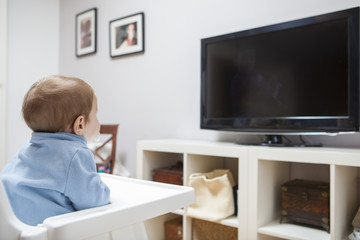 Baby boy watching television in living room