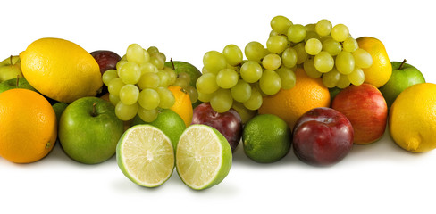 Poster Vruchten different fruits on a white background