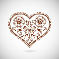 Heart shape ornament illustration for Valentine's Day. Greeting
