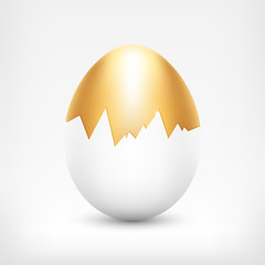 Vector golden egg in cracked white shell