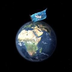 Drapeau de la Paix en Syrie au Moyen-Orient, vue de l'espace