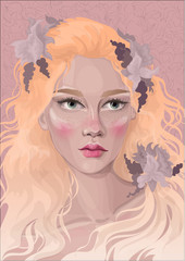 beautiful fairy girl with Highlighter on the cheeks and fashionable hair coloring
