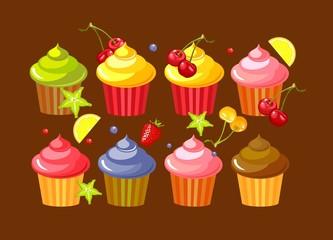 set fruit cupcakes