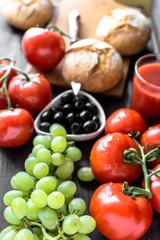 Healthy breakfast ingredients of vegetarian food, fruits and vegetables