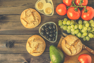 Healthy breakfast ingredients, vegetarian food, fruits and vegetables, flat lay from above