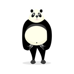 Funny bear panda, on a white background.
