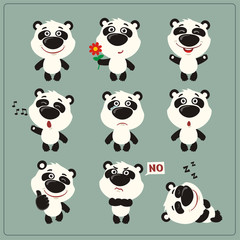 Funny little panda bear set in different poses. Collection isolated panda bear in cartoon style.