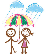 Doodles picture of boy and girl in the rain