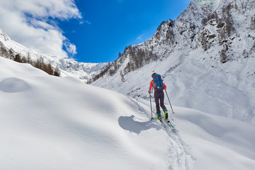 Girl makes ski mountaineering uphill alone