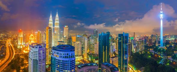 Downtown Kuala Lumpur skyline at twilight