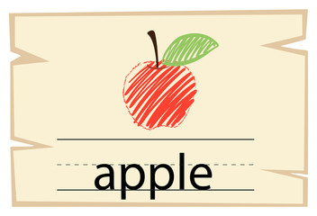 Wordcard template with word apple