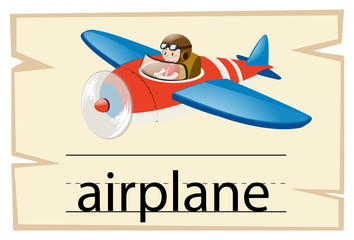 Wordcard template for word airplane